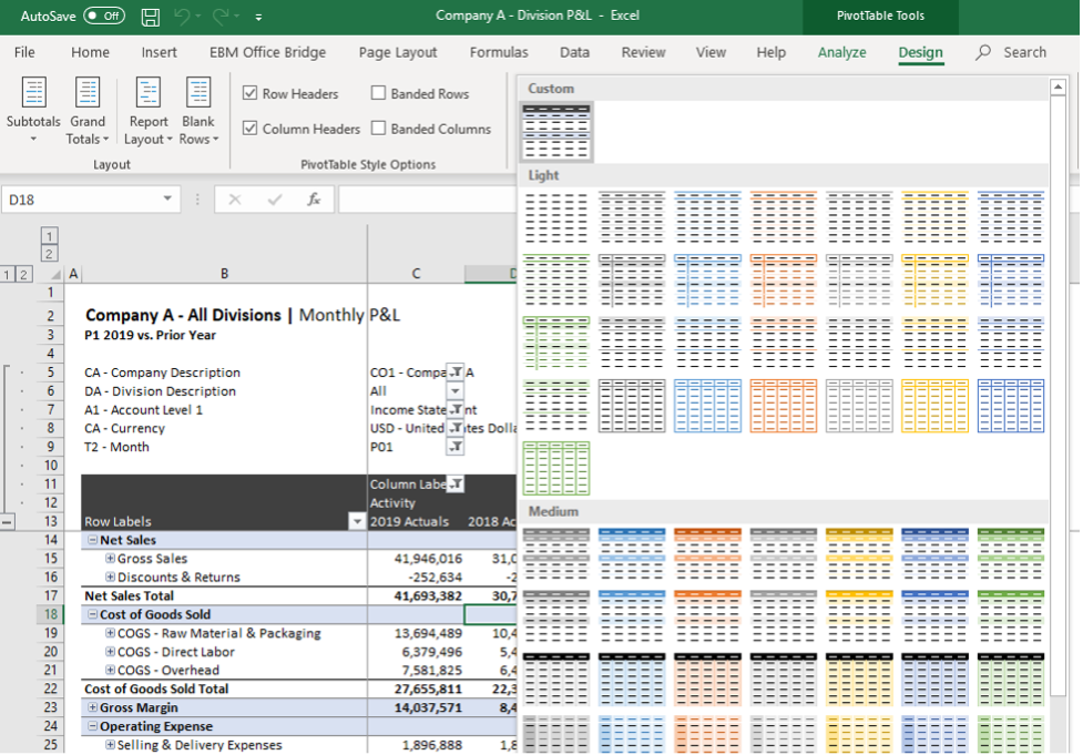 Updating the color and feel of cubes in excel using the design functionality